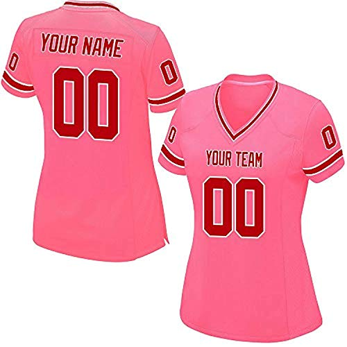ytgls Custom Football Team Designated Player Game Jersey #3-#18Women MBrown-White Striped