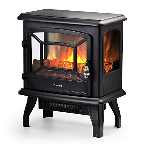 TURBRO Suburbs 20'' 1400W Electric Fireplace Stove, CSA Certified Freestanding Heater with Realistic Log Flame Effect, Black by TURBRO