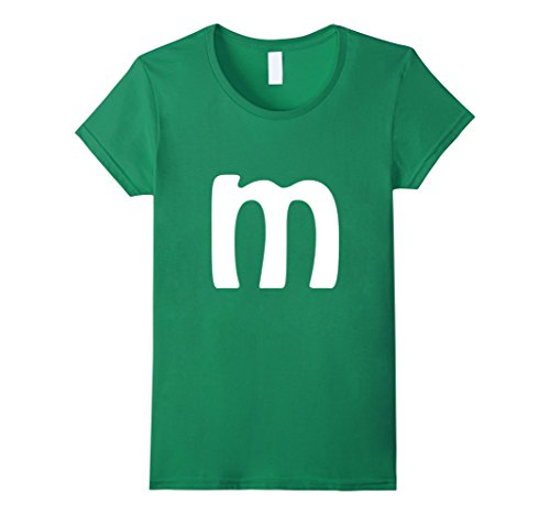 Womens M Letter Brilliant Last Minute Halloween Costume T-shirt Small Kelly Green (Green M And M Halloween Costume)