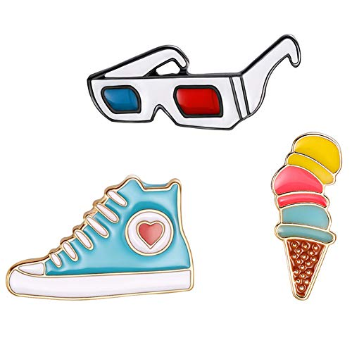 Butterfly Iron Brooch Pins, 3Pcs/Set Cartoon Glasses Sneaker Enamel Brooches Label Pin Badges Jacket Shirts Bag Decor ()