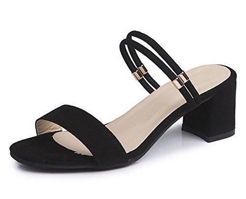 Chaussures Talon Tempérament Femmes Pantoufles De 34 Sandales Robes Épais D'été 39 Sandales Daim Deux Porter Mode black xie Soirée 4wt5qXnX