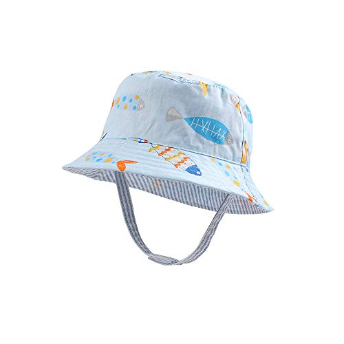 Toddler Baby Boys Girls Sun Hat UV Protect Infant Summer Hat Breathable Cotton Beach Hat 0-4Y (Light Blue Fish, ()