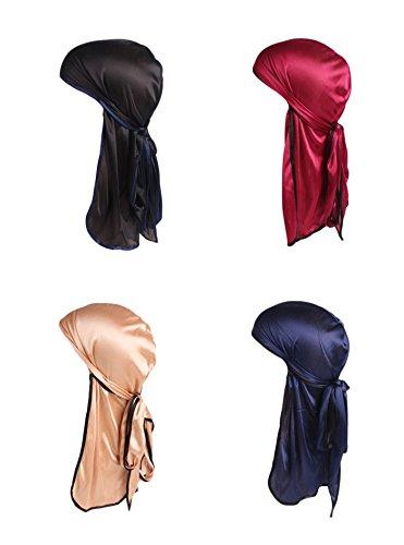 - 4 Pack Men's Women's Silk Accent Durag Cap Headwraps (Black, Navy, Wine Red and Brown)