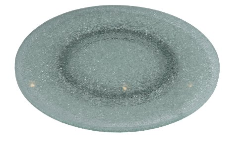 Chintaly Imports Lazy Susan Rotating Tray with Sandwich Glass, 24-Inch, Clear Glass/Sandwich - Glass Sandwich Tray