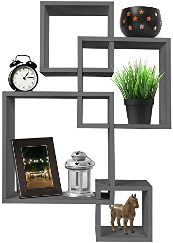 (Greenco 4 Cube Intersecting Wall Mounted Floating Shelves Gray Finish)
