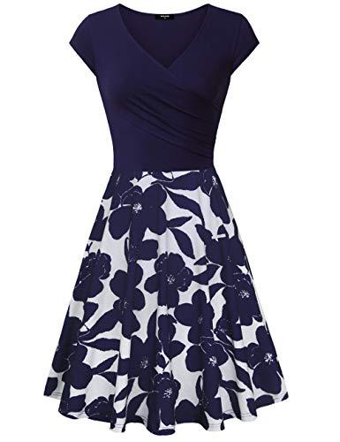 Lotusmile Wrap Dresses, Womens Casual Dress A Line Cap Sleeve V Neck Party Cocktail Floral Dress,Multcolor Blue X-Large