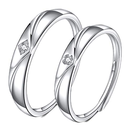 Aienid His and Her Rings for Couple Sterling Silver Wedding Rings Set for Men Women Eternal Adjustable (Silver Best Couple Rings)
