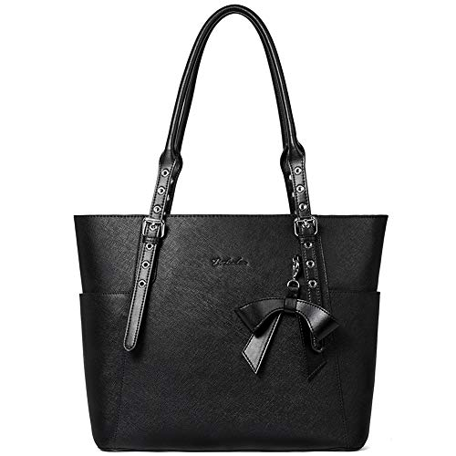 BOSTANTEN Women Leather Handbag Designer Tote Shoulder Work Purses Black