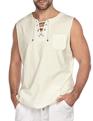 COOFANDY Mens Fashion T Shirt Cotton Tee Hippie Shirts Sleeveless Beach Yoga Top Cream