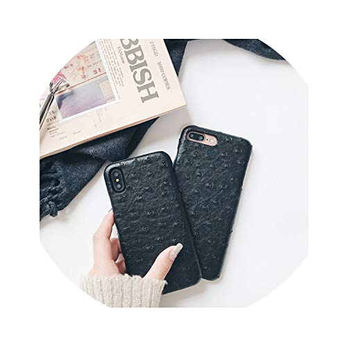 Leather case for iPhone Xs Max XS XR 6 6S 7 8 Plus Oil Side Ostrich Pattern Protective Cover-in Half,Black,for iPhone 7