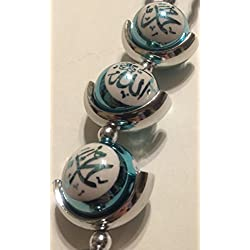 Turquoise/ Light Blue Ball Shaped Car Accessory /Wall Decoration with Allah Muhammad Writing Islamic Script