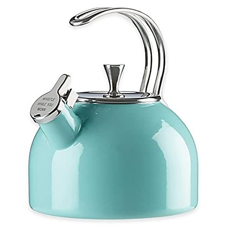 Kate Spade New York 2.5 qt. Tea Kettle, Durable steel construction, Stainless Steel Interior, Compatible with all stove types, including induction (TURQUOISE) Kate Spade New Yorks
