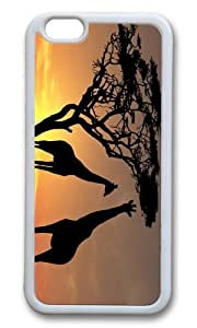 MEIMEIMOKSHOP Adorable Giraffes in Sunset Soft Case Protective Shell Cell Phone Cover For Apple Iphone 6 (4.7 Inch) - TPU WhiteMEIMEI