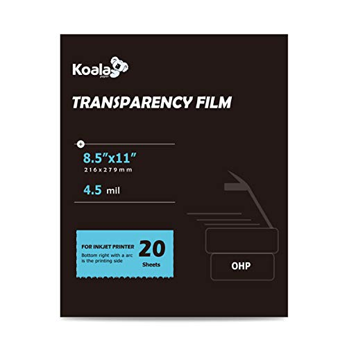 Koala OHP Film Overhead Project Film 8.5x11 Inches Transparency Printing Film for Inkjet Printer ()