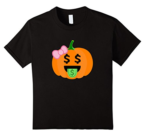 10 Dollar Costumes (Kids Pumpkin Girl T-Shirt Dollar Mouth Emoji Halloween Costume 10 Black)