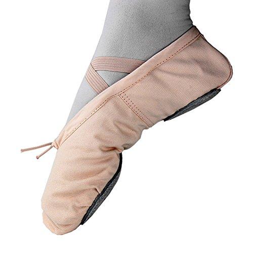 Adult Ballerina (Ballet Shoes Pointe Canvas Split Sole Practice Ballet Dancing Gymnastics Shoes Ballet Flat Slipper)