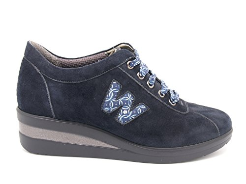 suela integrada Zapatillas mujer caucho zeppa de con Melluso turquesa stringate para wZq61pY