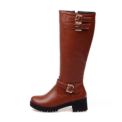 Allhqfashion Women's Soft Material Zipper Round Closed Toe Kitten-Heels High-top Boots Brown xAZ7E8tx