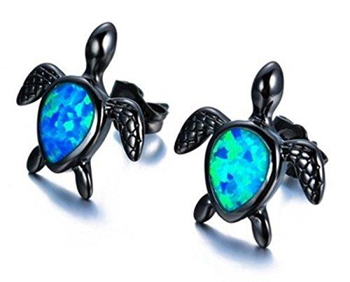 Fortonatori Created Blue Opal Turtle Earrings Stud Black Gold Filled size 0.35'' by Fortonatori