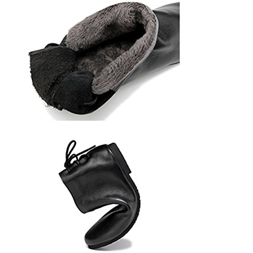 Leather Shoes Mordenmiss Black Boots Fleece 3 up Lace Style Ankle Heel Women's Low 5FF8Oqwpx