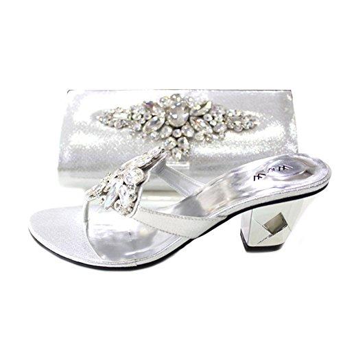 W & W Mujeres Señoras Noche a juego bolsa de zapatos comodidad y sandalias Original Swarovski piedra boda fiesta medio bloque zapatos de tacón tamaño 4-10(Noir & Jomie) plata