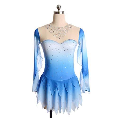 40d585642d49 Kmgjc Skating Wear,Women Girl Handmade Long Sleeve Sequin Rhinestone Skating  Skirt High Elasticity Professional Competition Ice Skating Dress (Color :  Blue ...
