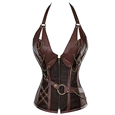 Women's Steampunk Retro Steel Boned Corset Waist Cincher Bustier Shapewear Top