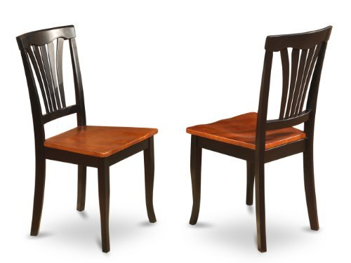 East West Furniture AVC-BLK-W Chair Set for Dining Room with Wood Seat, Black/Cherry Finish, Set of - Cherry Room Sets Dining
