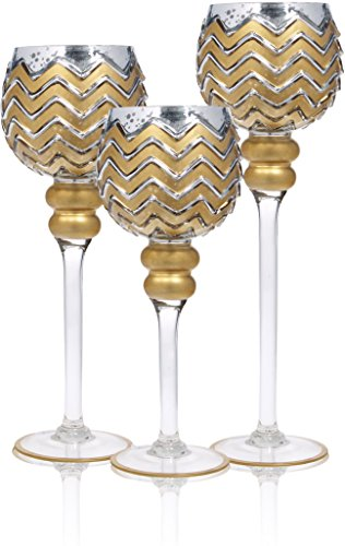 "Glass Hurricane Candle Holder ~ Set of 3 ~ Size: 12""H ; 14""H; 16""H ~ Platinum Finish ~ Gorgeous Attractive Décor Piece (Silver/Gold Mercury Chevron)"