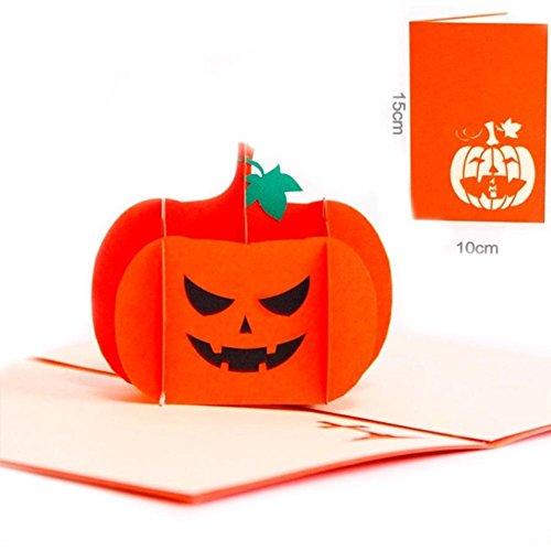 ZEROYOYO Handmade 3D Pop up Greeting Card Creative Origami Halloween Pumpkin Gift Card for Kids Birthday Festival