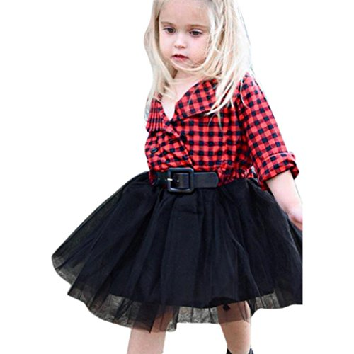 Kehen Child Kid Toddler Girl Roll-up Sleeve Collared Button Down Flannel Plaid Shirt + Tutu Skirt (#1 Red, 5T)