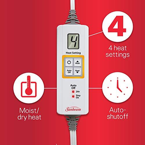"""Sunbeam King-Size Microplush XpressHeat Heating 6 Heat Settings, Select Auto-Off, 24"""","""