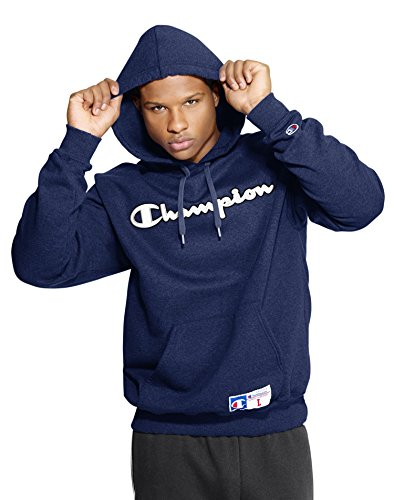 Champion Men's Retro Graphic Pullover Hoodie, Navy Heather, Medium