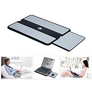 Portable Laptop Lap Desk Pad with Retractable Mouse Tray, Anti-Slip Heat Shield, Working Surface as Tablet Computer Stand for Bed Sofa Recliner Couch and Travel, Black / Gray