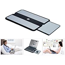 MAX SMART Laptop Portable Lap Desk Pad w Mouse Tray Mouse Pad, Anti-Slip Heat Shield, Working Surface as Table Computer Stand in Bed Sofa Recliner Couch, Black/Gray