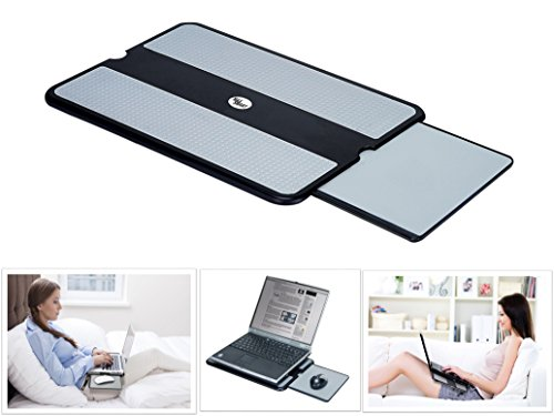 MAX SMART Lap Desk - Lap Tray Stand w Mouse Tray Mouse Pad, Anti-Slip Heat Shield, Cooler Working Surface as Table Computer Stand in Bed Sofa Recliner Couch, Laptop Accessory - Cooler Notebook Lap