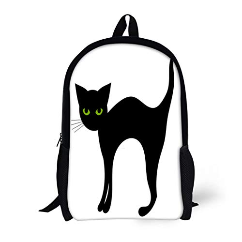 Pinbeam Backpack Travel Daypack Green Simple Black Cat Halloween Back Cute Animal Waterproof School Bag -
