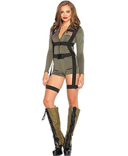 Leg Avenue TG85490 Top Gun Romper Women's Costume - Khaki - Small (Ladies Top Gun Costume)