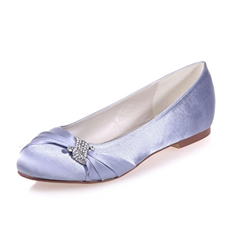 Wedding 9872 Flat YC Glittering Crystal Rhinestone Wedding 22 Shoes Party Silver L Silk Woman's Party amp; z1wI5qnwAx