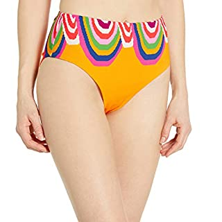 Trina Turk Women's High Waist Hipster Bikini Swimsuit Bottom, Mango//Rainbow Swirl, 8
