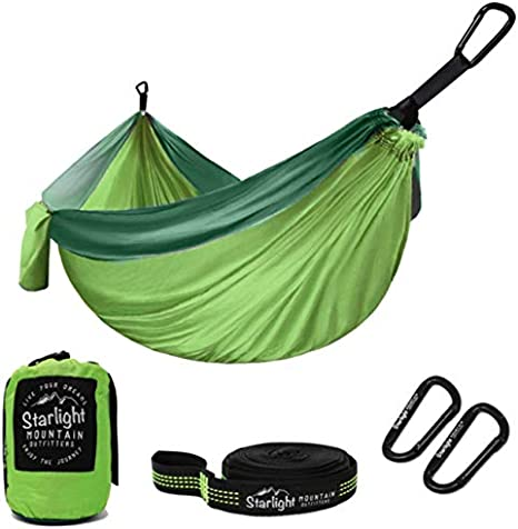 Starlight Mountain Outfitters Single//Double Hammock Hiking Outdoors Travel Best Hammock for Backpacking Camping Portable Lightweight Parachute Nylon with Tree Straps