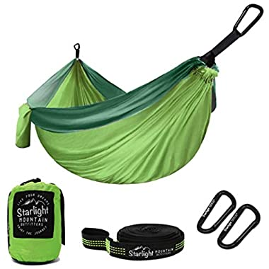 Starlight Mountain Outfitters Single/Double Hammock - Portable Lightweight Parachute Nylon with Tree Straps, Best Hammock for Backpacking, Hiking, Camping, Outdoors Travel