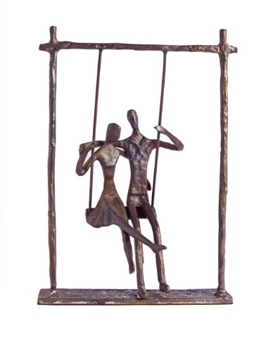 Danya B. ZD9022 Contemporary Metal Art Shelf Decor - Cast Bronze Sculpture - Couple on a Swing