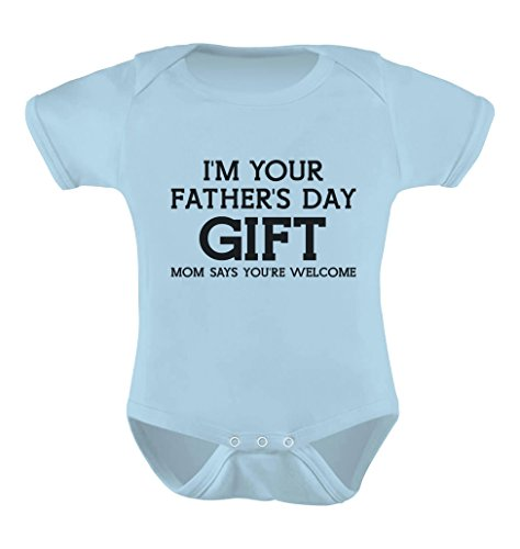 Tstars 'I'm Your Mom Says Welcome' - Funny Cute Baby Bodysuit Newborn Aqua