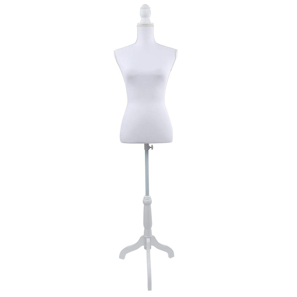 PP OPOUNT Female Dress Form Pinnable Mannequin Body Torso with Wooden Tripod Base Stand (White, Size 6) by PP OPOUNT