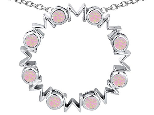 Star K Large MOM Circle Mother's Pendant Necklace with Round Pink Created Opal Sterling Silver