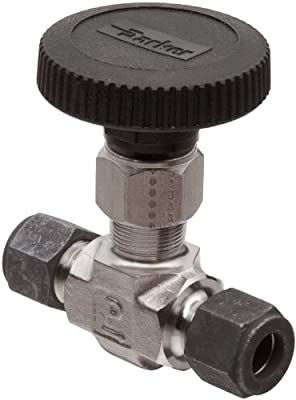"""Parker 316 Stainless Steel Inline Process Needle Valve with PTFE Stem Seal, 1/4"""" Compression CPI Inlet/Outlet Port, 5000 psi from Parker"""