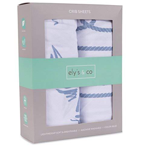 Crib Sheet Set 100% Jersey Cotton 2 Pack - Dusty Blue Nautical Print