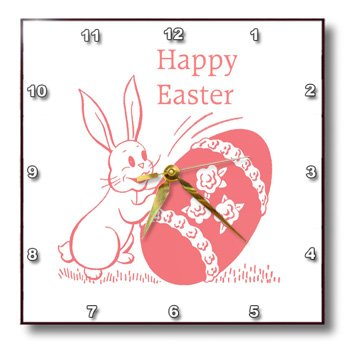 3dRose dpp_174214_2 Image of Retro Easter Bunny with Egg-Wall Clock, 13 by 13-Inch
