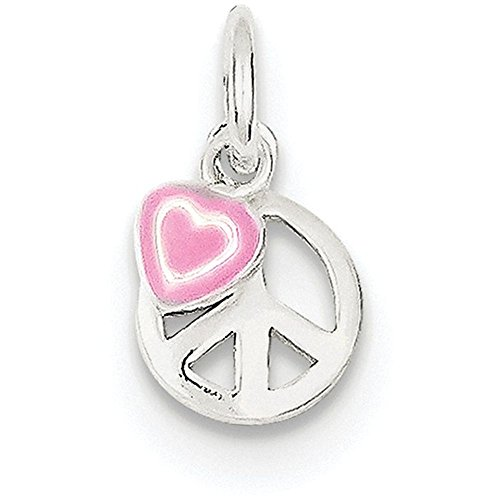 top Peace Sign with Pink Enamel Heart Pendant Necklace w/Chain free shipping
